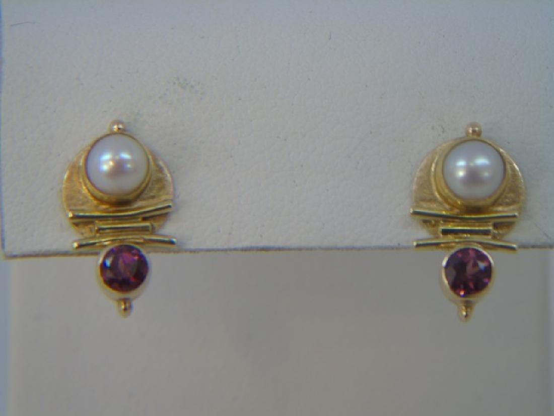 Estate Modernist 18k Gold Tourmaline Pearl Earring