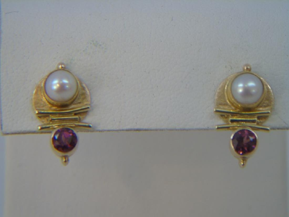 Estate Modernist 18k Gold Tourmaline Pearl Earring