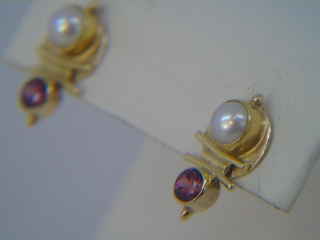 Estate Modernist 18k Gold Tourmaline Pearl Earring - 2