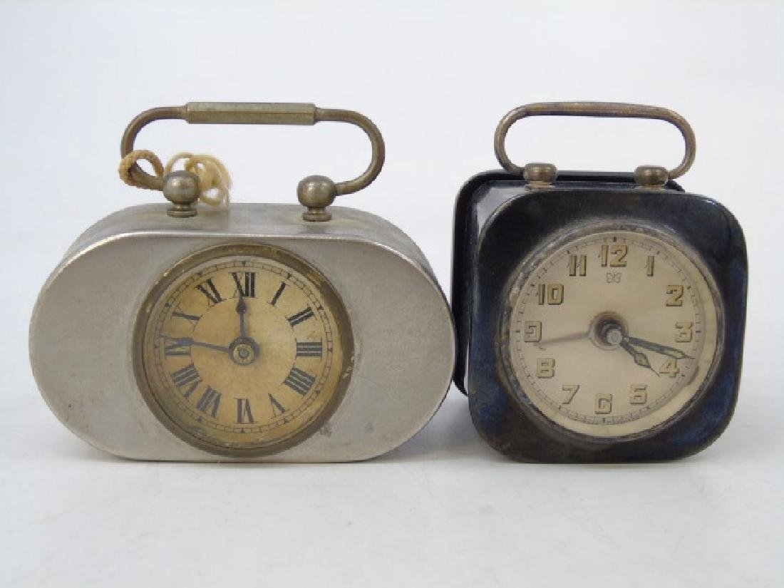 Two Antique Art Deco German Miniature Table Clocks