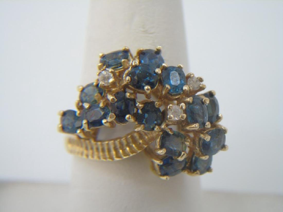 Estate 14kt Gold Diamond & Sapphire Cluster Ring