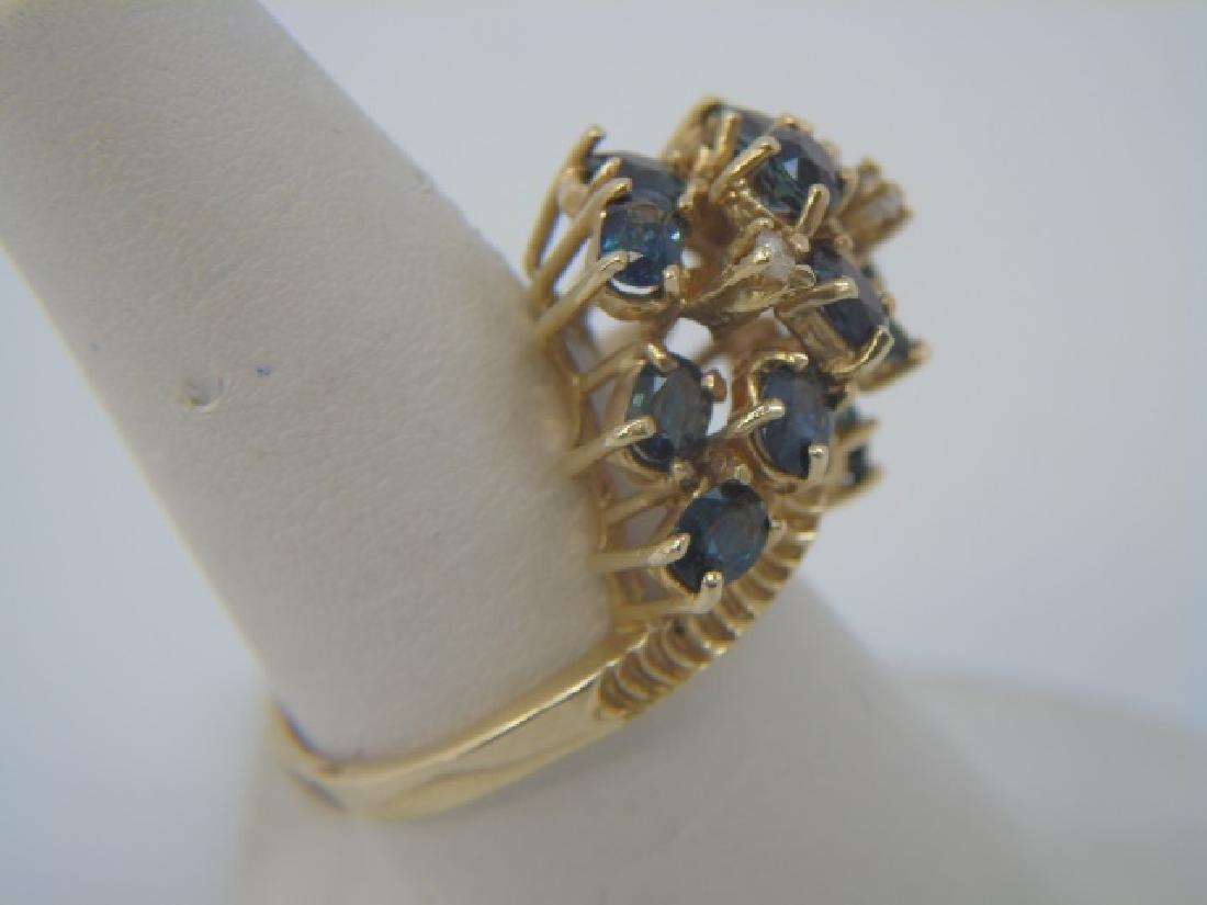 Estate 14kt Gold Diamond & Sapphire Cluster Ring - 2