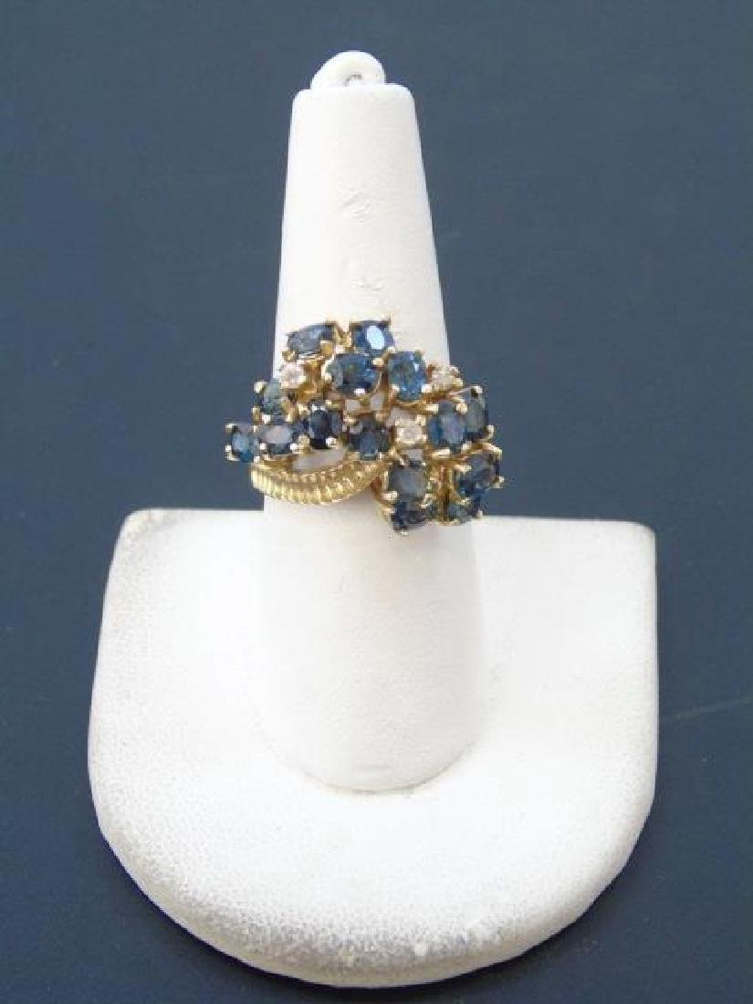 Estate 14kt Gold Diamond & Sapphire Cluster Ring - 3
