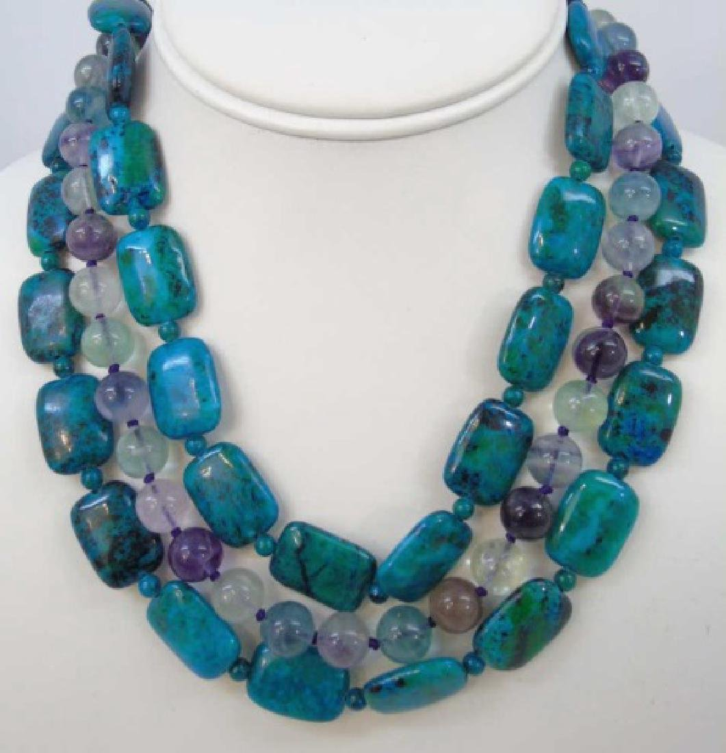 Three Contemporary Carved Hardstone Necklaces