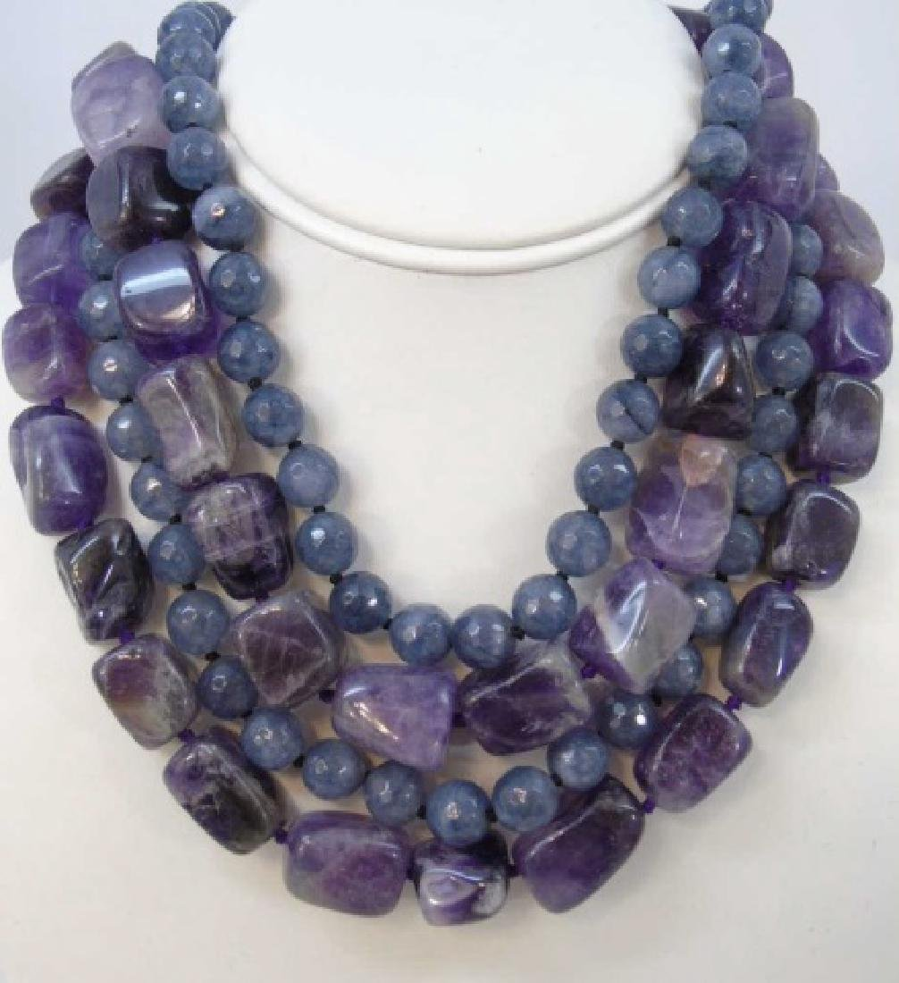 Necklaces - Pair Tumbled Amethyst & Pair Spinel