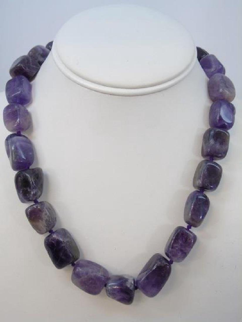 Necklaces - Pair Tumbled Amethyst & Pair Spinel - 3