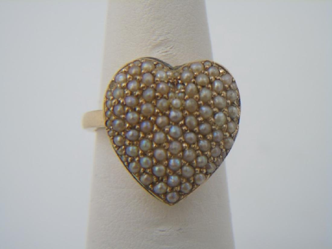 Antique Estate Seed Pearl & 14kt Gold Heart Ring