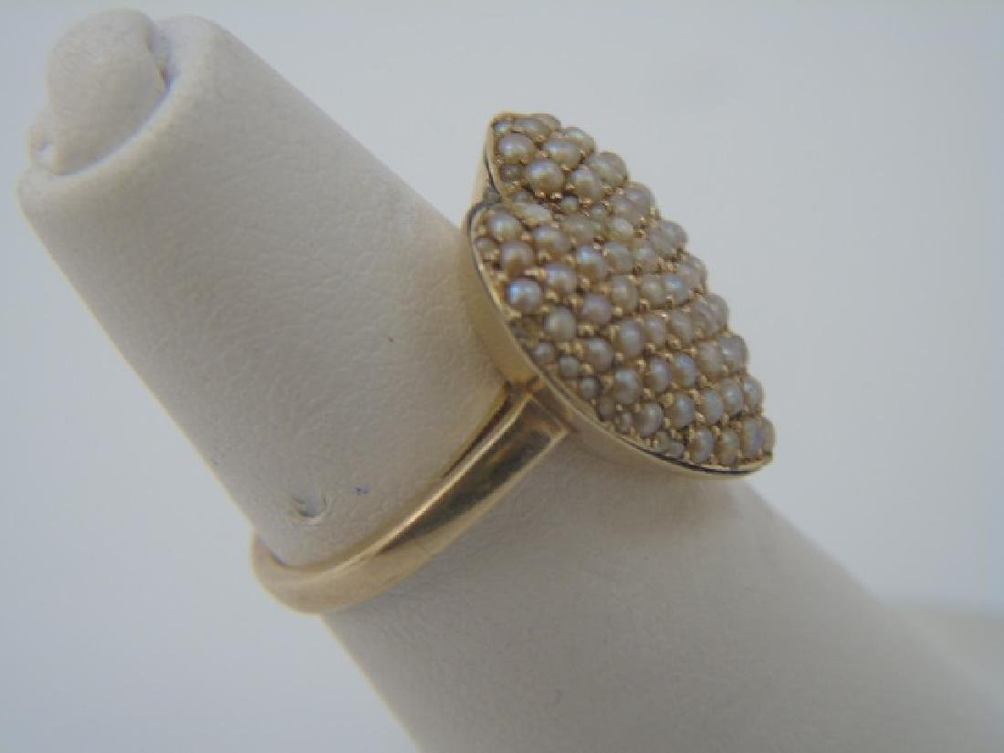 Antique Estate Seed Pearl & 14kt Gold Heart Ring - 2