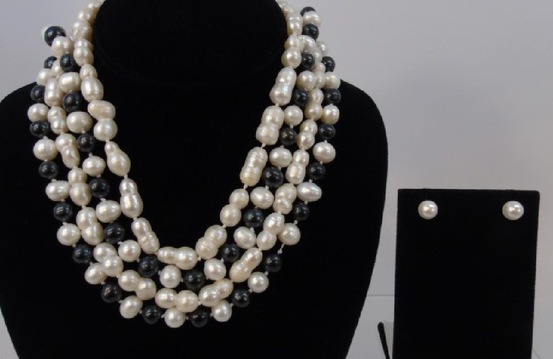 Group of Four Baroque Pearl Necklace Strands