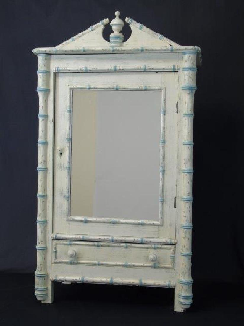 Antique 19th C French Faux Bamboo Doll Armoire