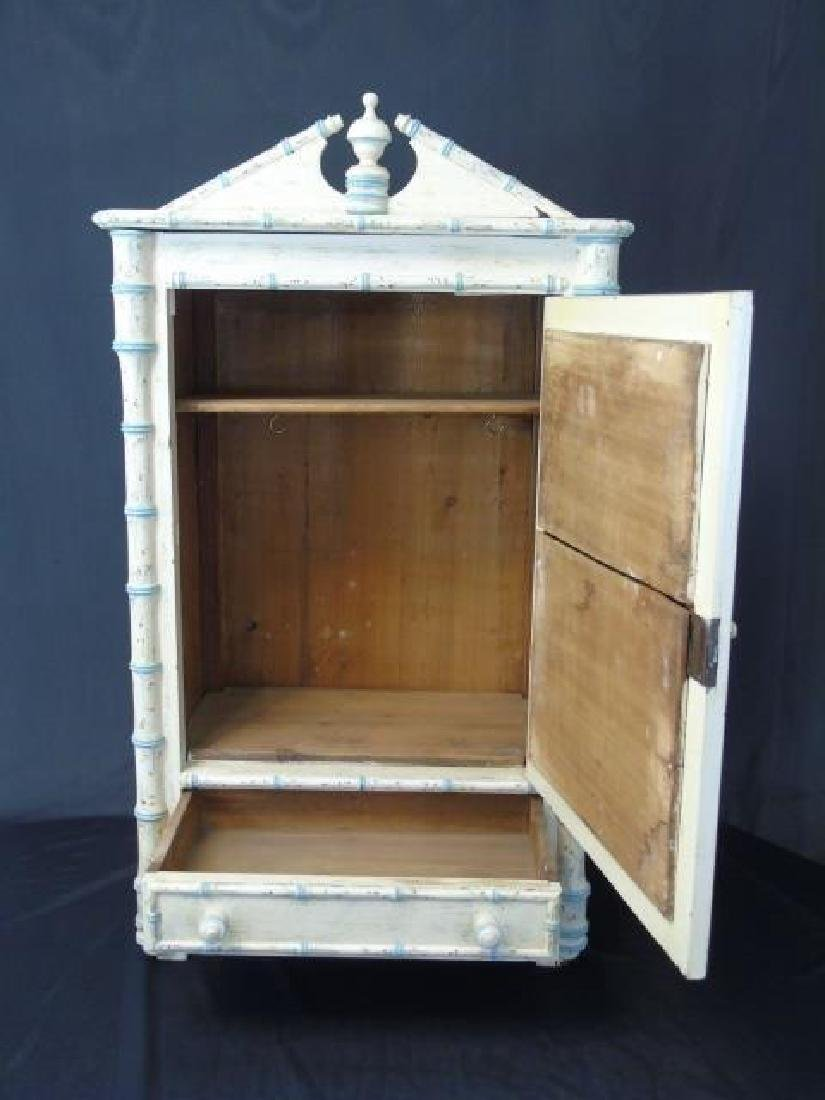 Antique 19th C French Faux Bamboo Doll Armoire - 4