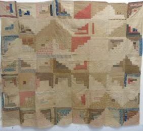 Antique American Log Cabin Hand Made Quilt