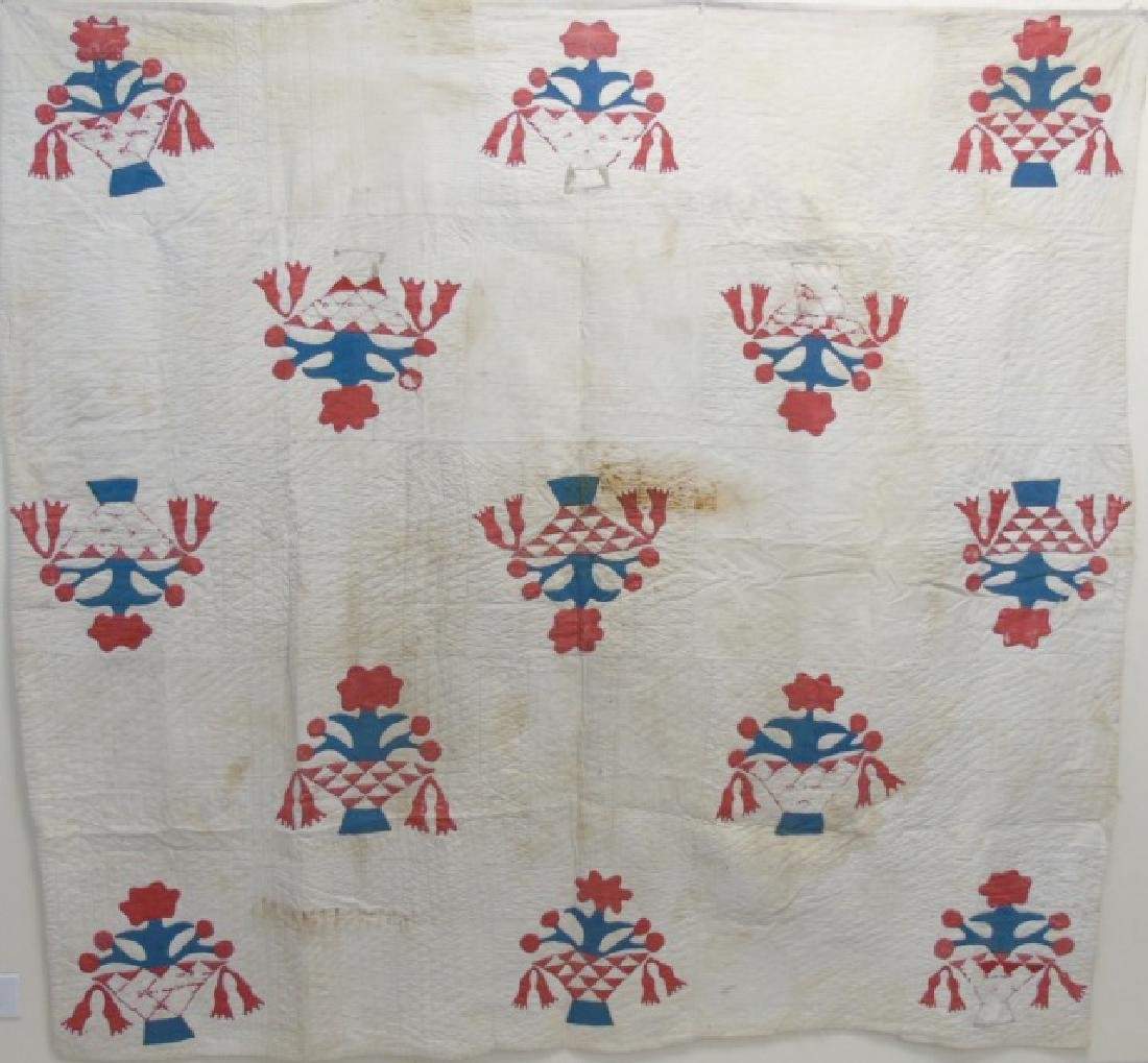 Antique American Basket Motif Hand Made Quilt