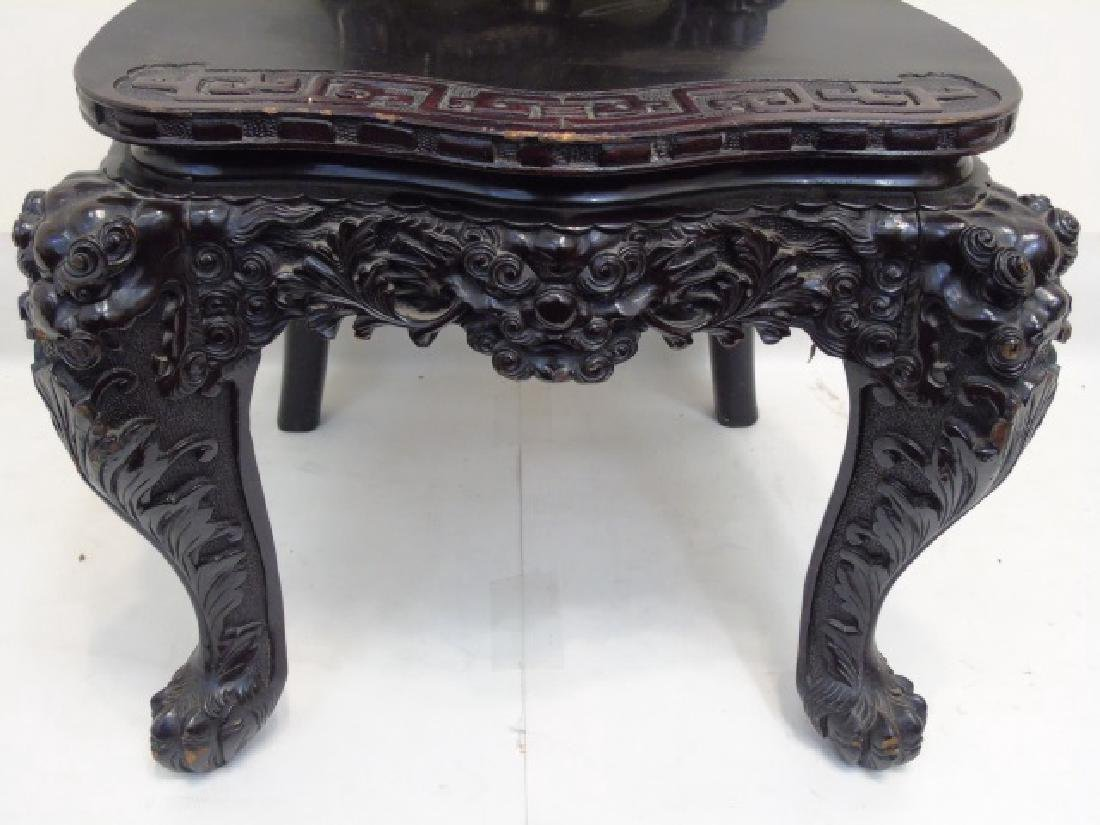 Antique Ornate Hand Carved Chinese Side Chair - 4