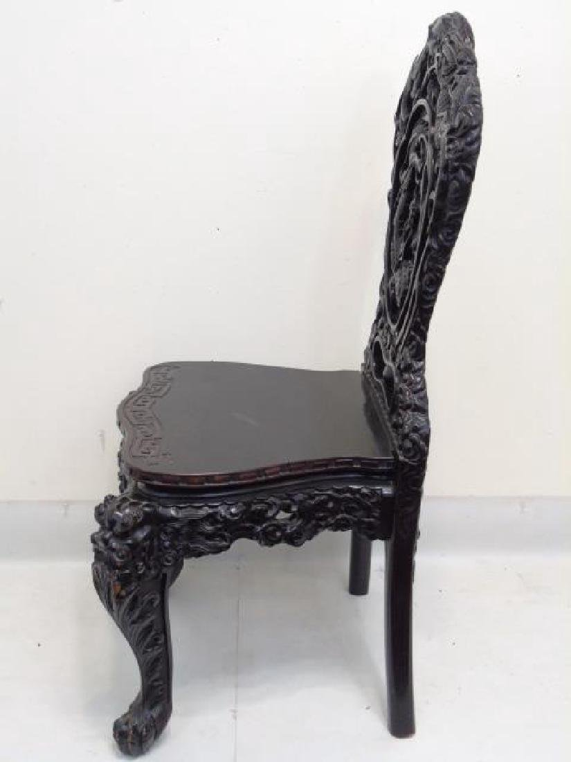 Antique Ornate Hand Carved Chinese Side Chair - 5