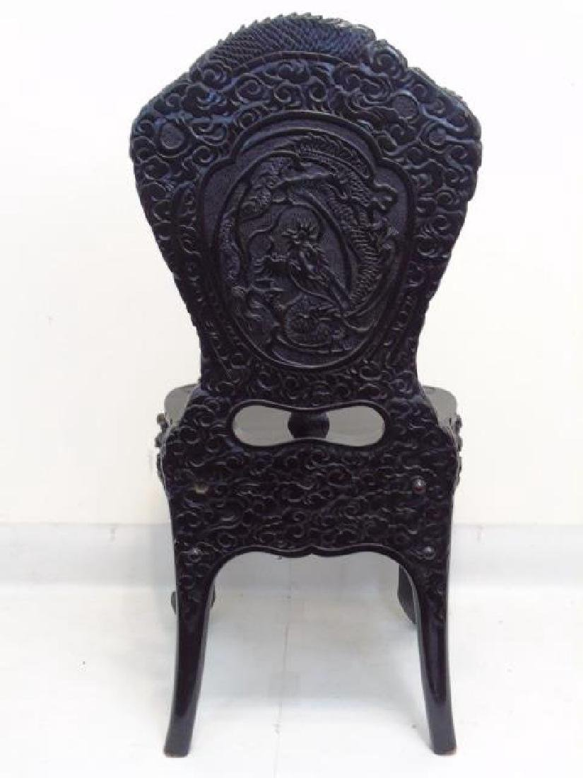 Antique Ornate Hand Carved Chinese Side Chair - 6