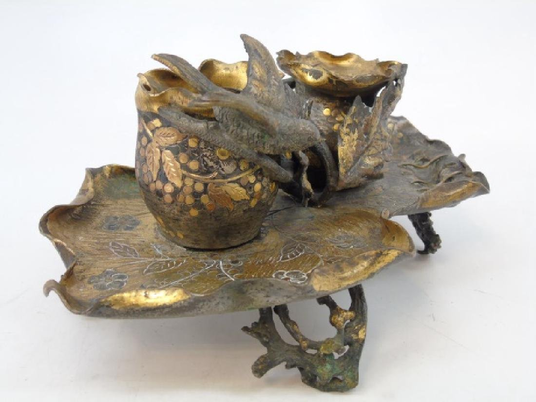 Antique Continental Double Inkwell Desk Ornament - 3
