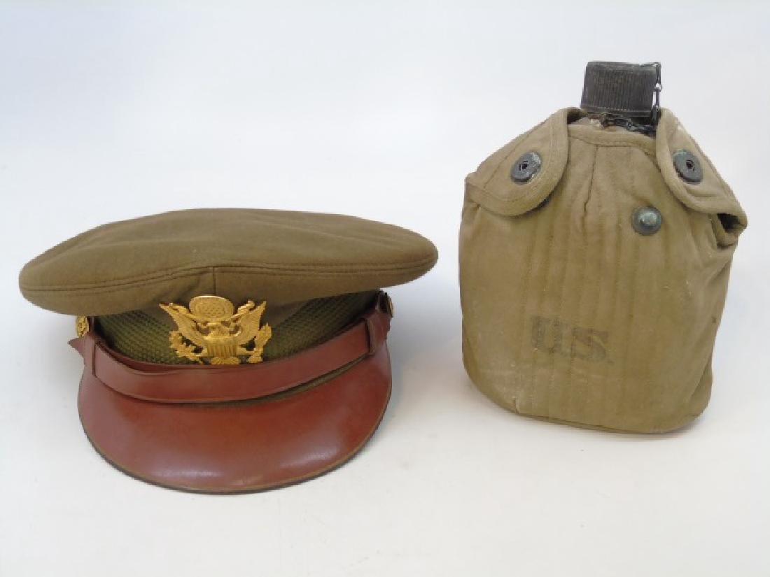 Vintage US Military Items - Canteen & Hat