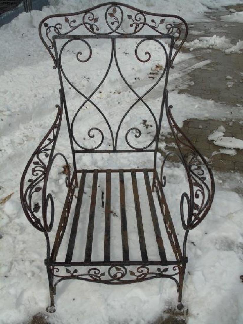 Antique Wrought Iron Outdoor / Patio Armchair