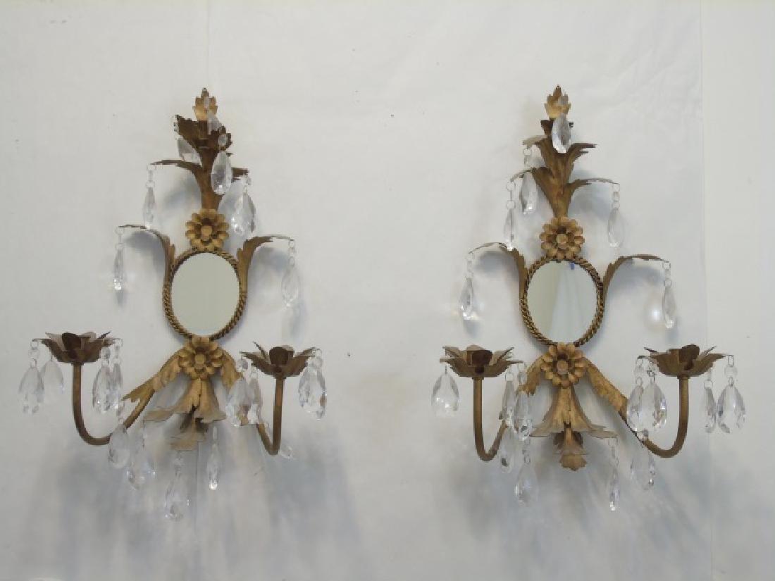 Pair Hollywood Regency Sconces w Mirror & Crystals