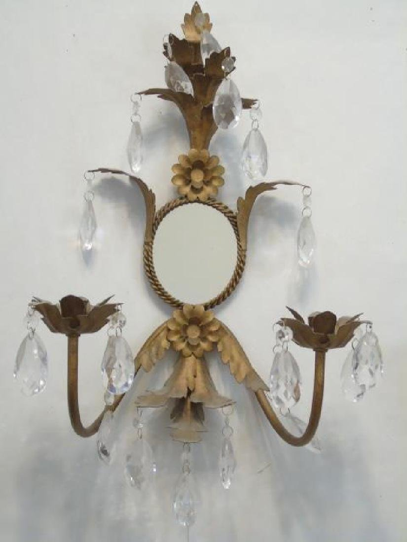 Pair Hollywood Regency Sconces w Mirror & Crystals - 3