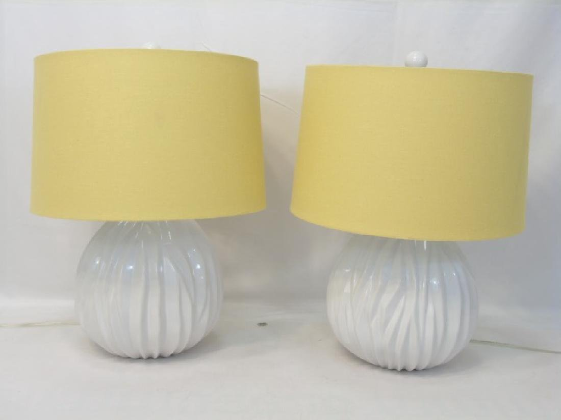 Pair of Contemporary Blanc de Chine Lamps w Shades