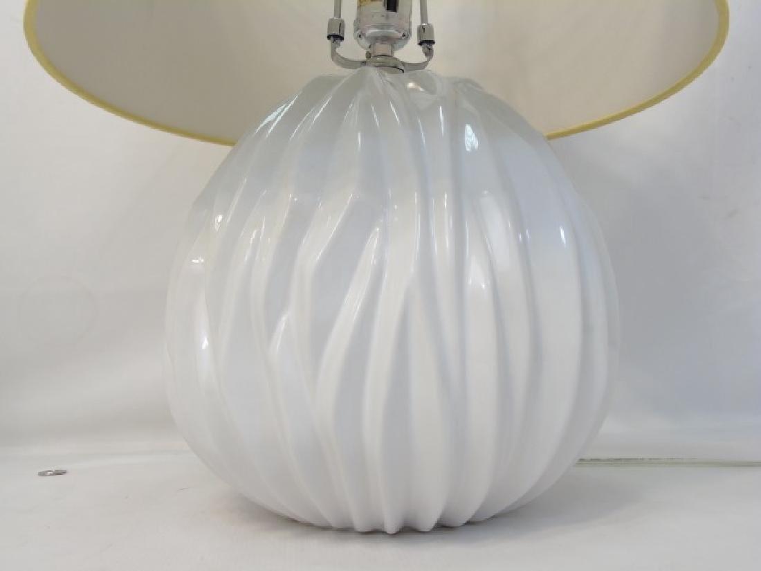 Pair of Contemporary Blanc de Chine Lamps w Shades - 2