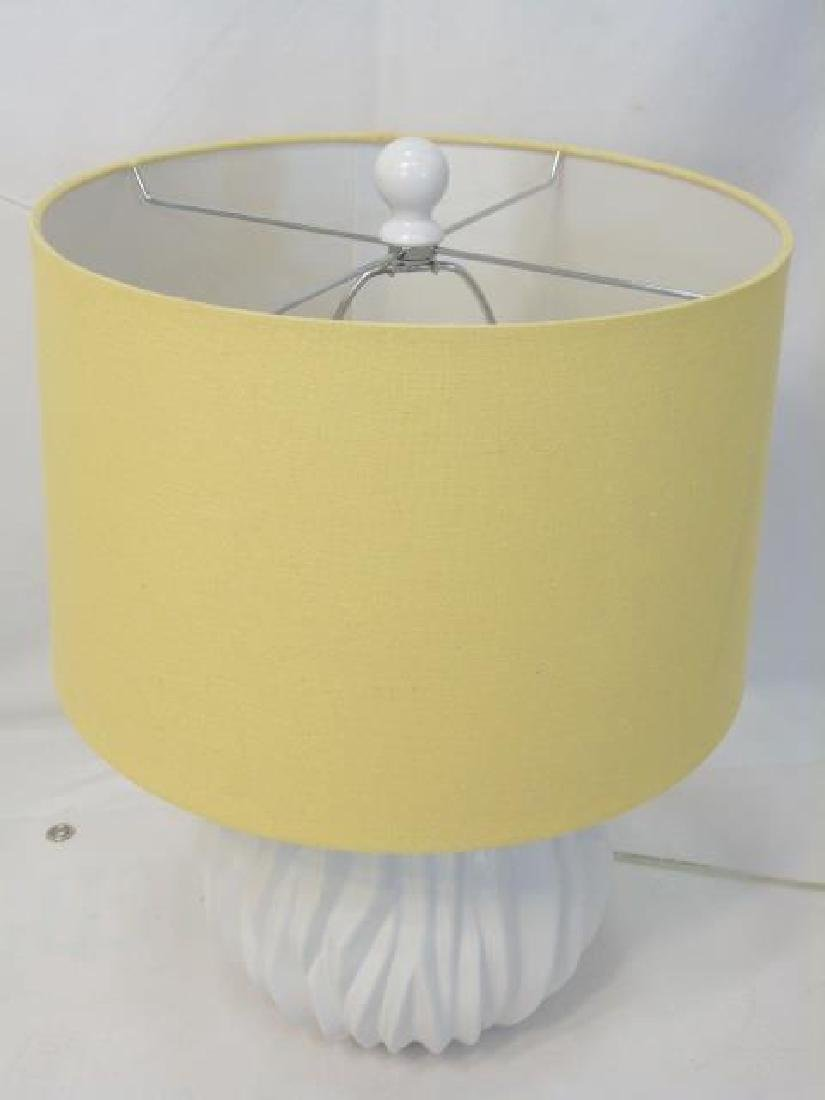 Pair of Contemporary Blanc de Chine Lamps w Shades - 3