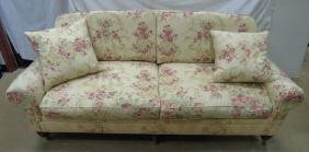 Lillian August Floral Upholstery Rolled Arm Sofa