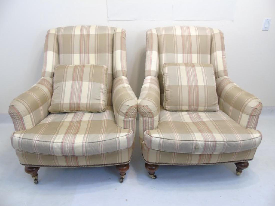 Pair Lillian August Striped Upholstery Armchairs