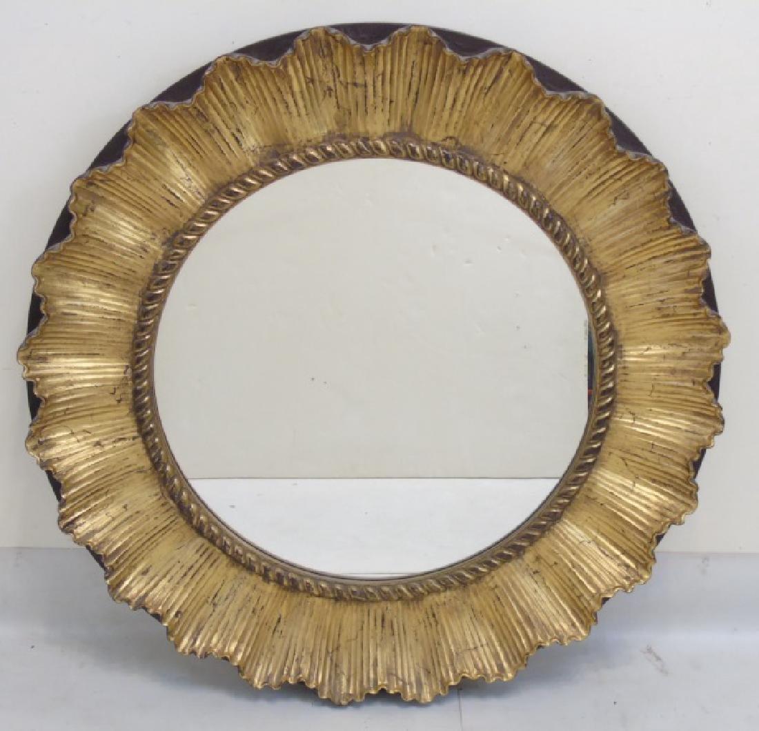 Contemporary Ribbon Motif Gold Leaf Round Mirror