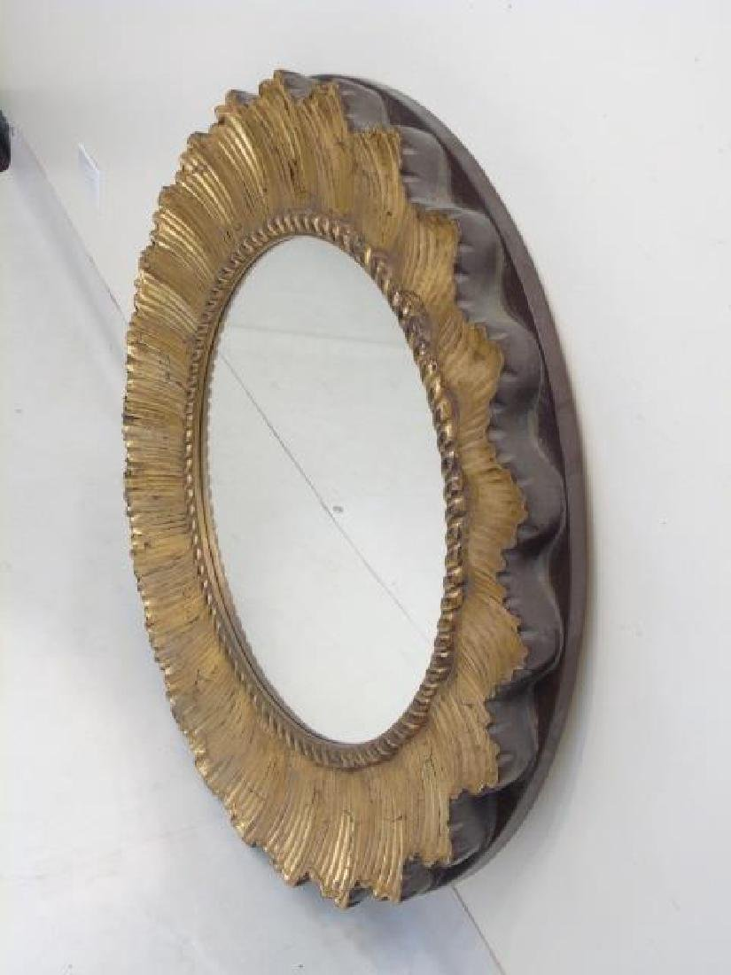Contemporary Ribbon Motif Gold Leaf Round Mirror - 2