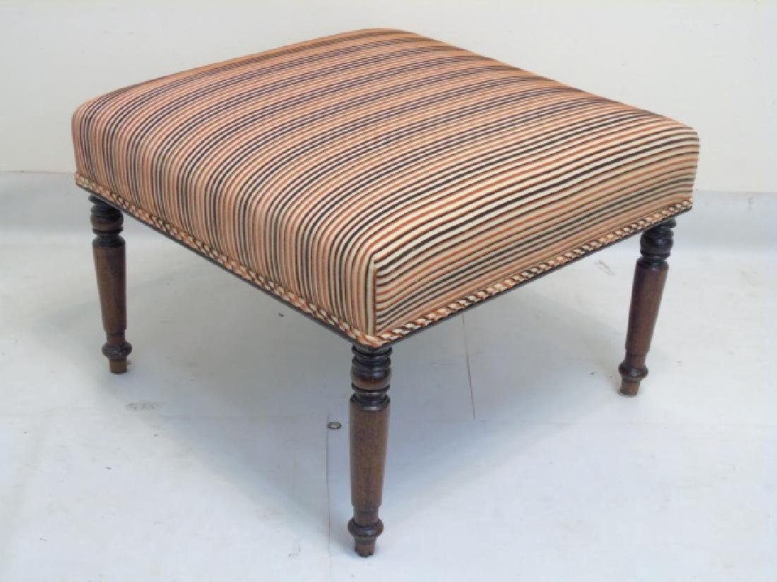 Square Striped Ottoman with Carved Wood Legs