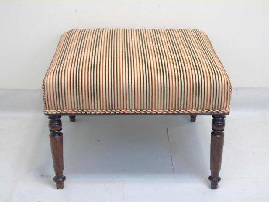 Square Striped Ottoman with Carved Wood Legs - 2
