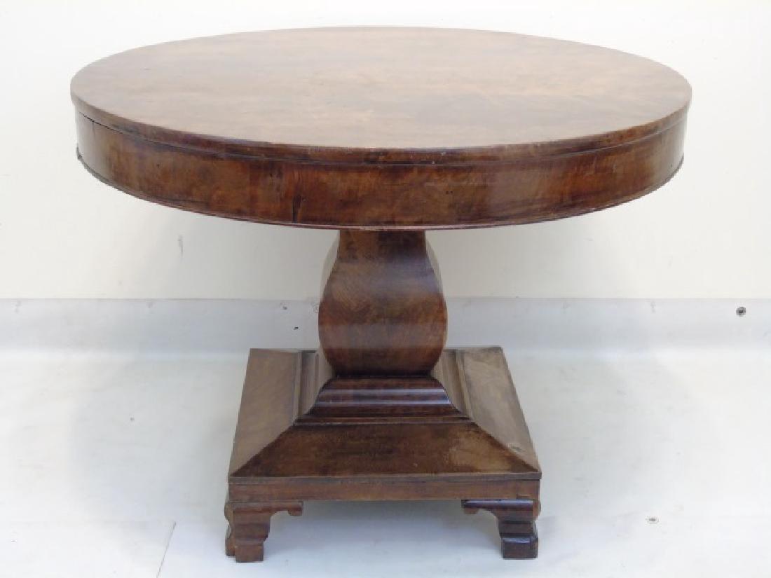 Antique Wood Round Pedestal Table