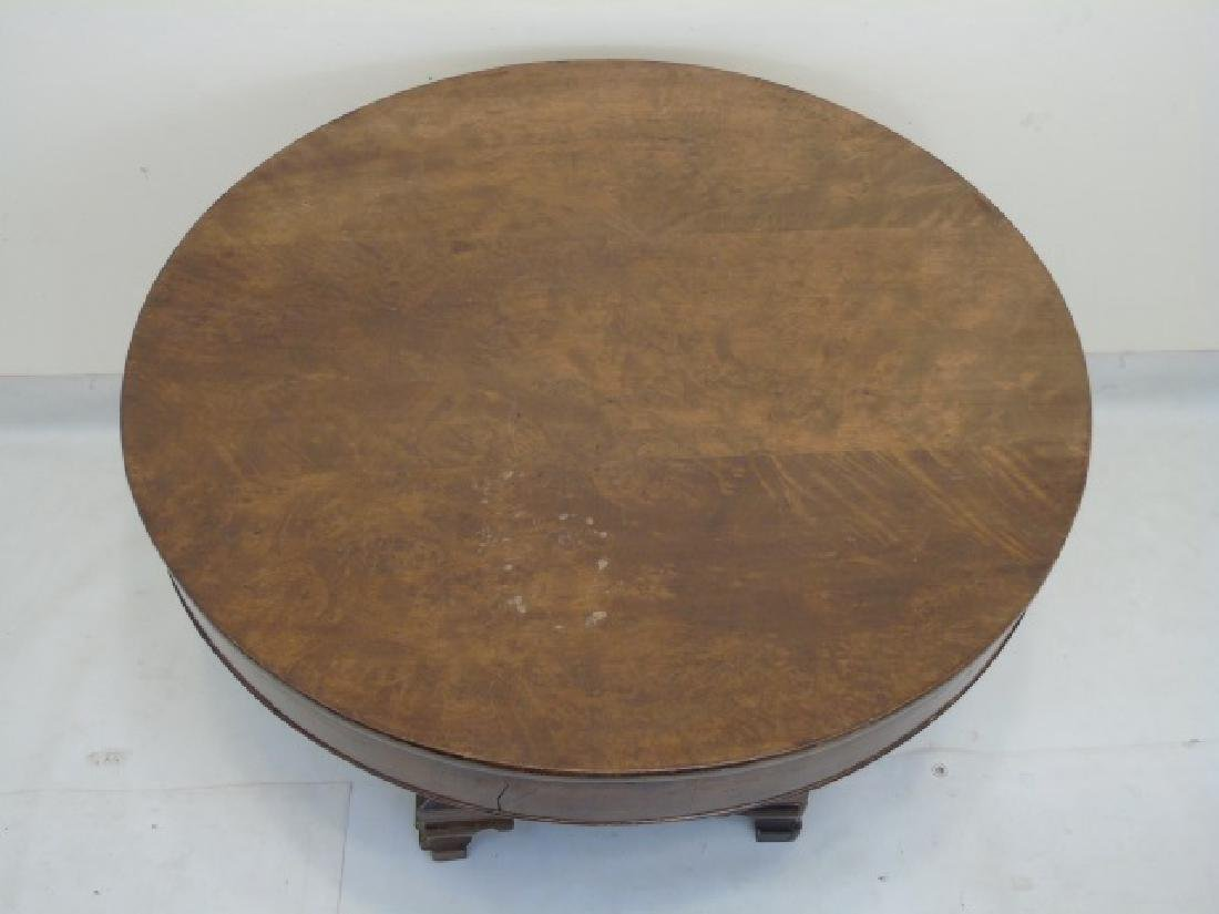Antique Wood Round Pedestal Table - 2
