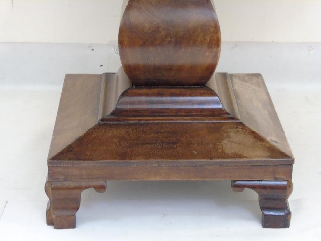 Antique Wood Round Pedestal Table - 3