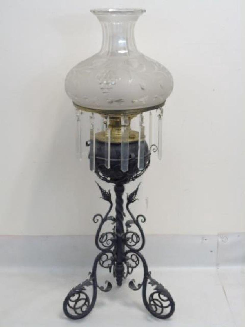 Victorian Oil Lamp - Etched Glass and Fancy Base