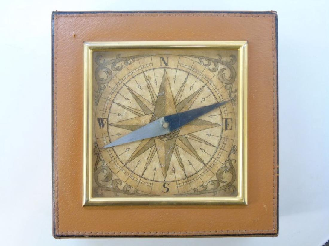 Leather Table Box w Glass Front Compass on Top