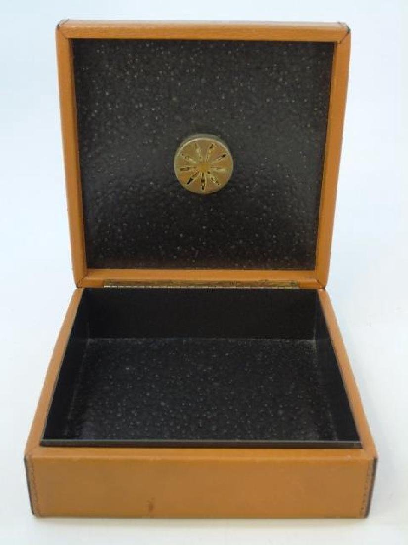 Leather Table Box w Glass Front Compass on Top - 2