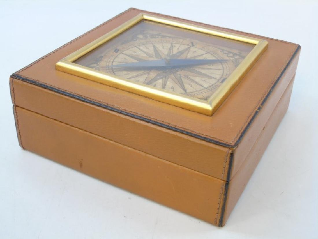 Leather Table Box w Glass Front Compass on Top - 3