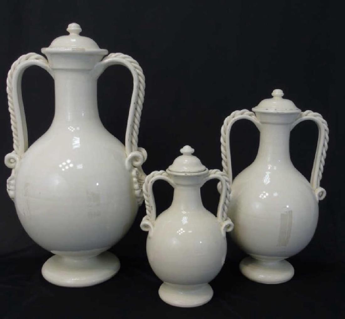 Set of 3 Blanc de Chine Crackleware Lidded Urns