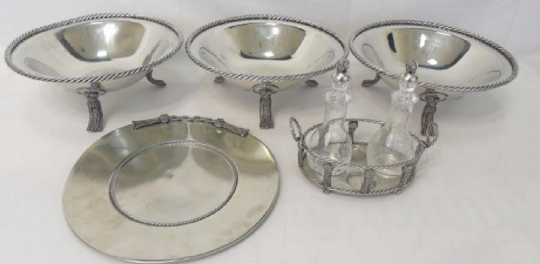 Silver Plate w Tassel Motif - Compotes, Tray, Etc