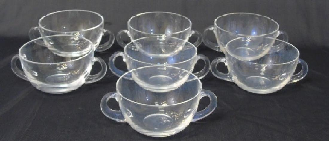 Set of Blown Glass Tiffany & Co Handled Bowls