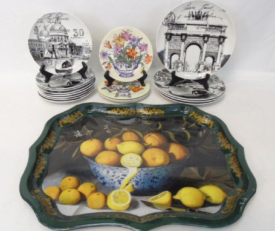 Limoges Plates, Tina Higgins Plates & Metal Tray