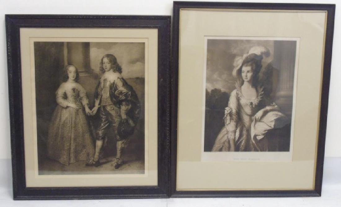 2 Antique Framed Prints - Van Dyck & Gainsborough