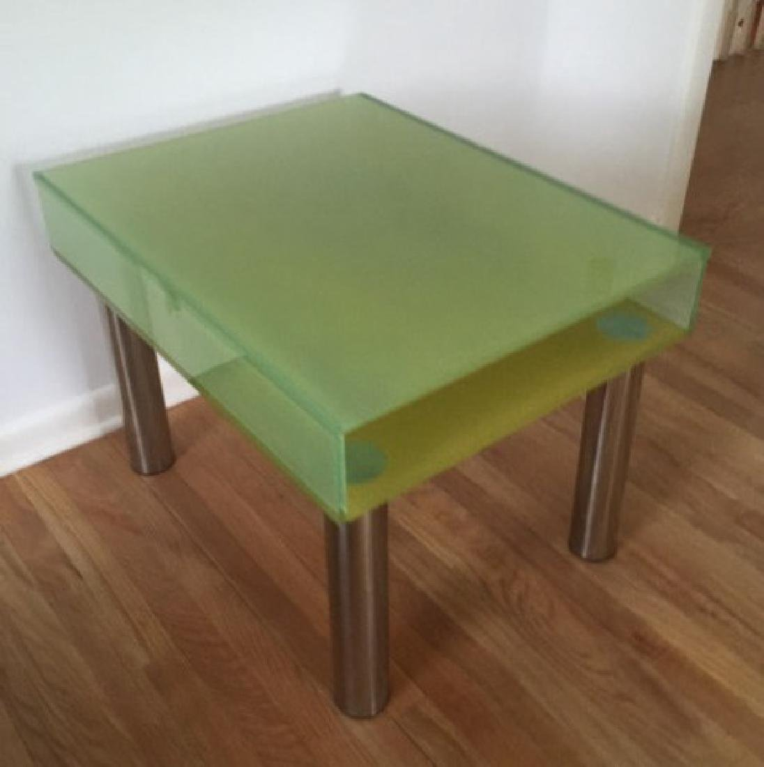 Modern Contemporary Glass End Table w Shelf