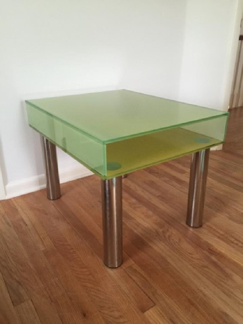 Modern Contemporary Glass End Table w Shelf - 2