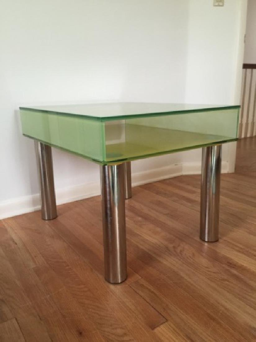 Modern Contemporary Glass End Table w Shelf - 3