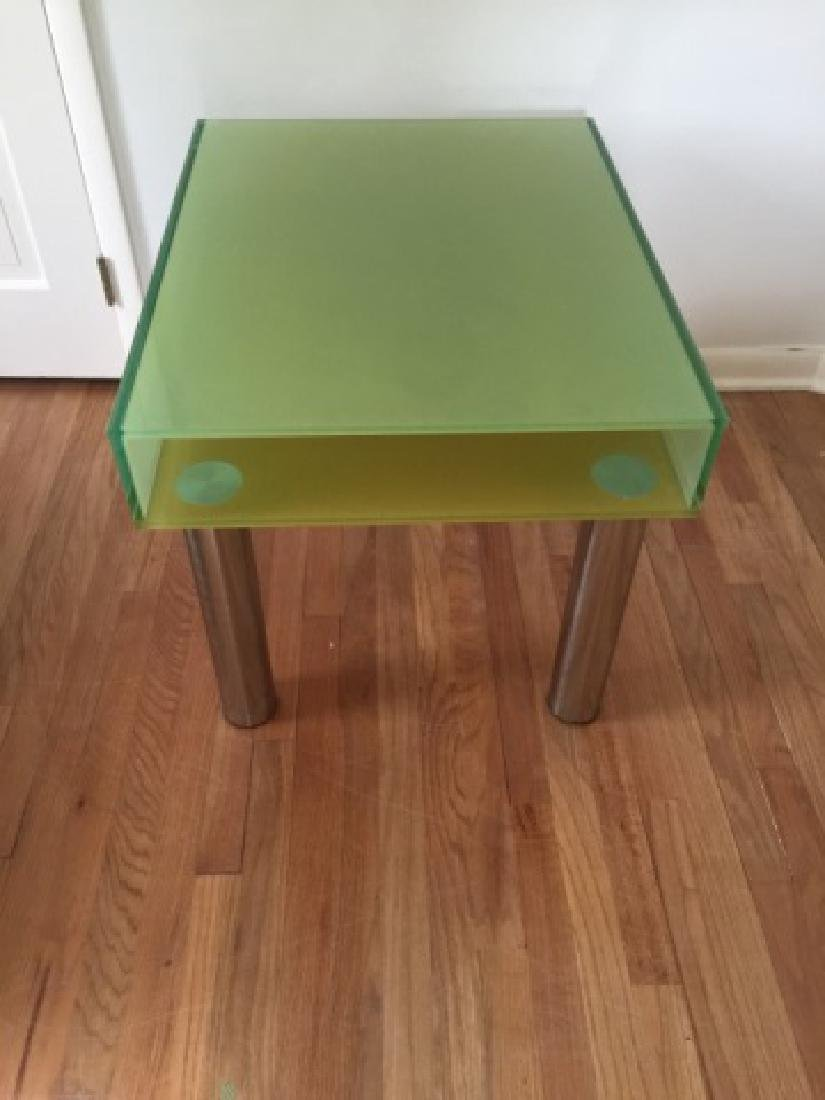 Modern Contemporary Glass End Table w Shelf - 4